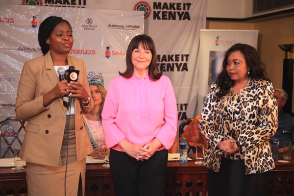 Brand Kenya Acting Chief Executive Officer Mary Luseka, Miss World Chairlady Julia Morley and Miss World Kenya Franchise Director Terry Mungai.