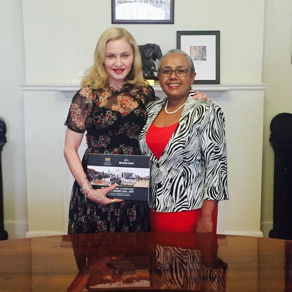 Pop star Madonna and First Ladt Margaret Kenyatta during her visit to Kenya.