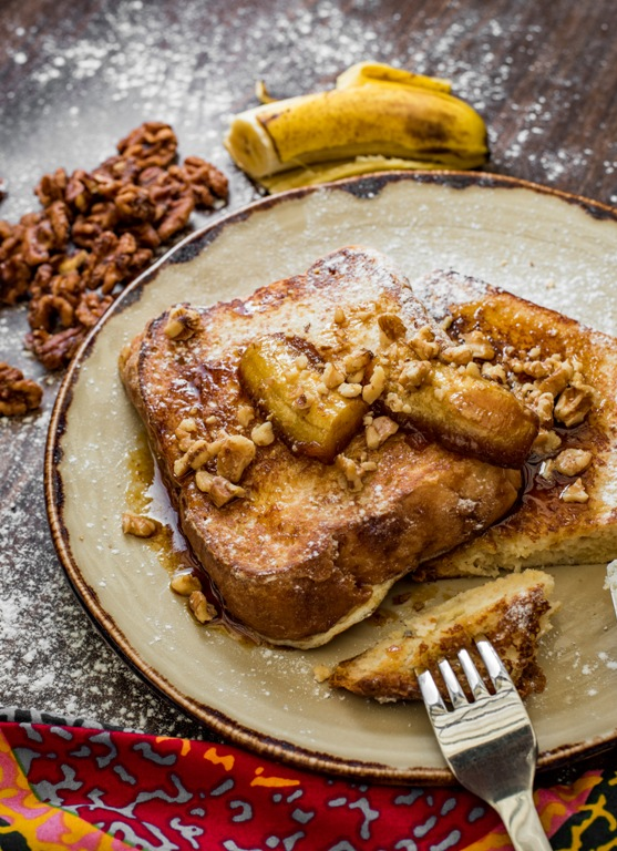 Brioche French toast with caramalized bananas.