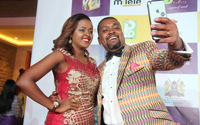 K24 Alfajiri presenter Amina Abdi and Riverwood Awards Group CEO Mwaniki Mageria