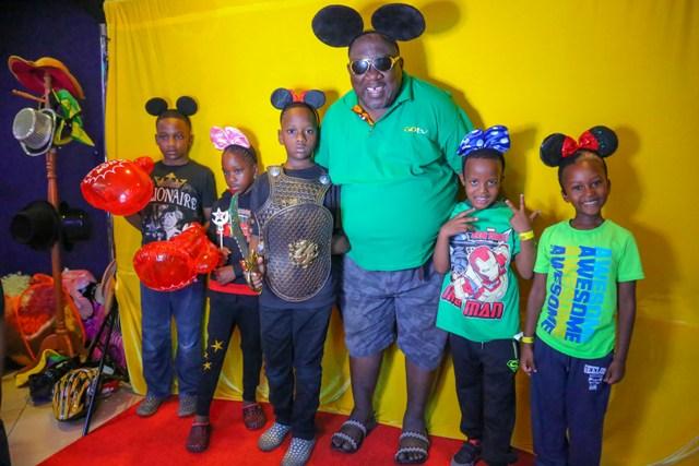GOtv Brand ambasador, Papa Shirandula with kids.