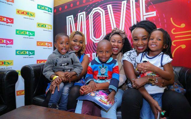 With their kids, from left, Mwende Macharia & Champion, Mwalimu Racheal & Jabari and Talia Oyando with Lyric.