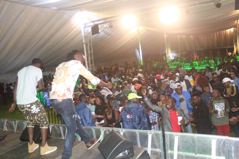 MC Obinna and Antonio entertain revellers in Kisii at Chrome Mega Bash