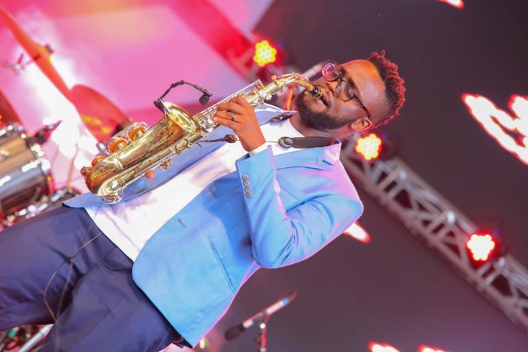 Saxophonist, Samwel 'Laka' Nyaga, from Shamsi Music performs.