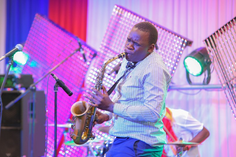 Don Ouko aka 'The Don' plays his saxophone.