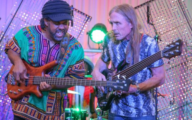 Victor Wooten (left) with Steve Bailey, during their performance.