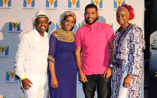 Left -GM GOtv Kenya Simon Kariithi, Lulu Hassan MAZA producer, Mvita MP Abdulswamad Sharrif Nasir and Kanze Dena of Citizen TV pose for a photo during the launch of MAZA