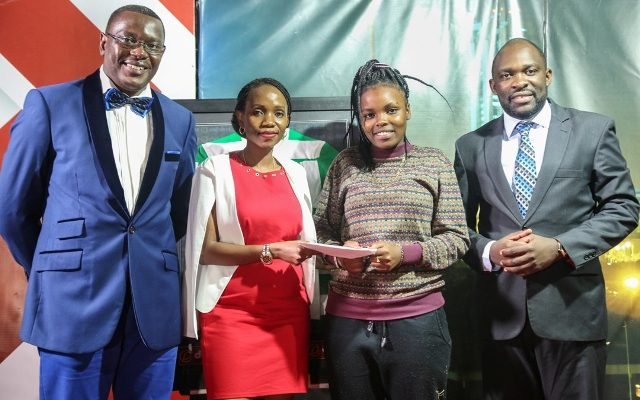 Talanta Mtaani winner receiving the award