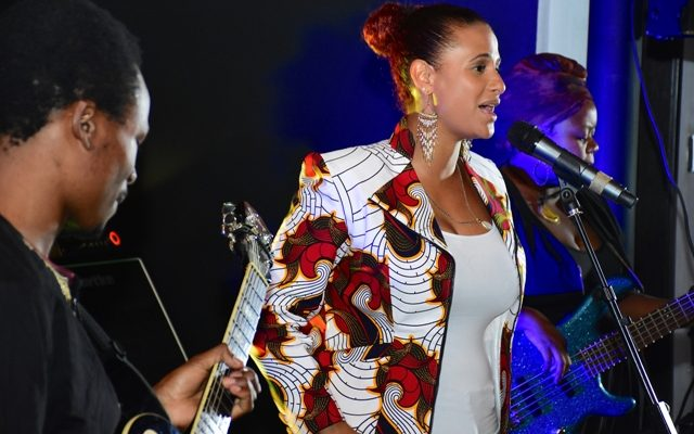 Habida performing on stage during an intimate valentine's evening she hosted at the Park Inn by Radisson in Westlands