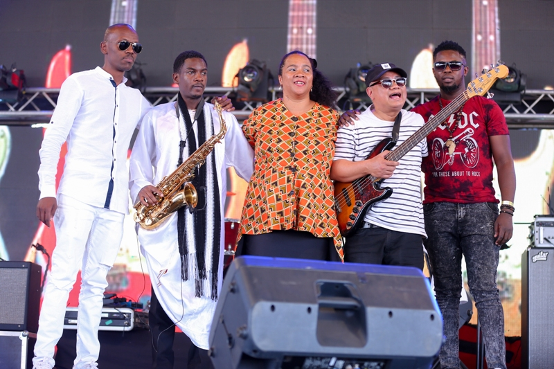 Kenyan based jazz band, th Limericks pose for a photo after their performance during the Safaricom International Jazz Festival.