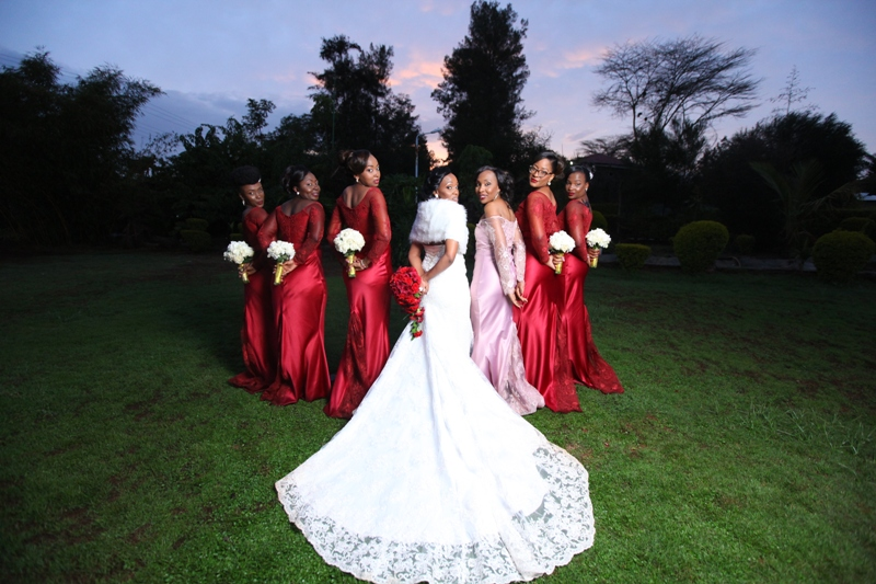 Nancy Mutava and the bridal party Maid of Honour Dorah Malemba, Roselyne Kemunto, Winnie Nzisa, Lisa Kingori, Thelma Amonyi and Joan Chege (5)