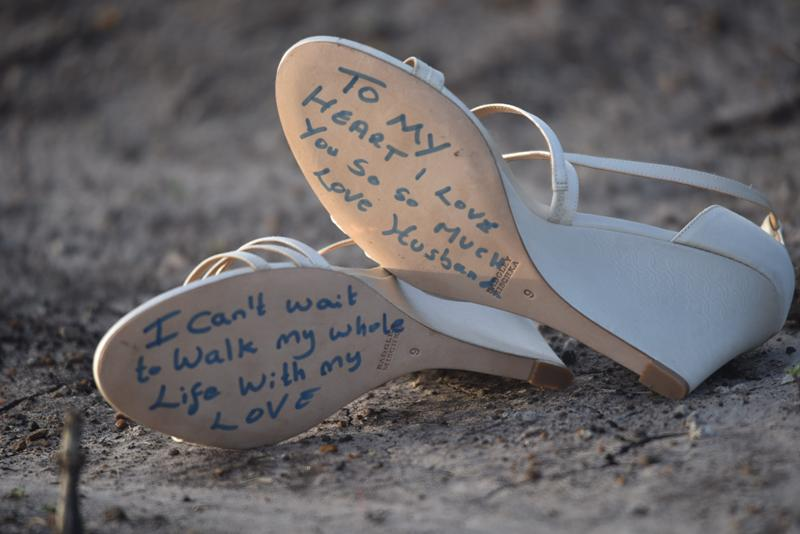 Nancy Mutava shoes with a message from Carlos Zani