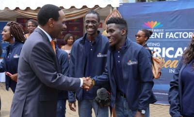 Kenya Film Classification Board CEO Ezekiel Mutua interacts with the students from the academy