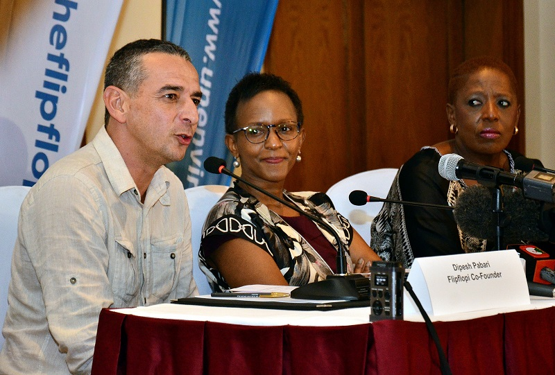 Dipesh Pabari FlipFlopi Co-Founder, Joyce Msuya Acting Executive Director, UN Environment and H.E. Koleka Anita Mqulwana South Africa High Commissioner to Kenya.
