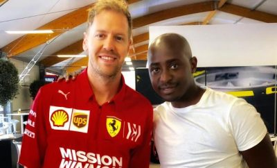 Sebastian Vettel and Patrick Githinji
