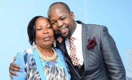 Alex Mwakideu and his mum