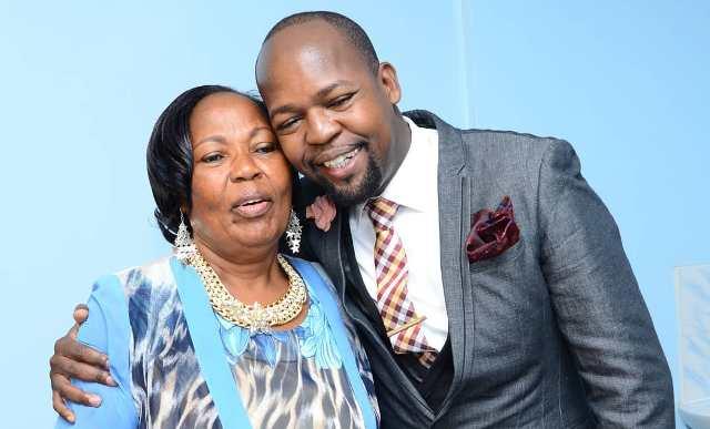 Alex Mwakideu and his mum