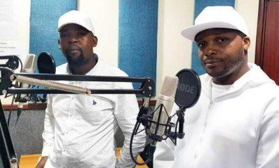Jalang'o and Alex Mwakideu in studio.
